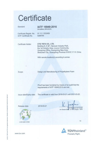 China Cyg Tefa Co., Ltd. Certificaten